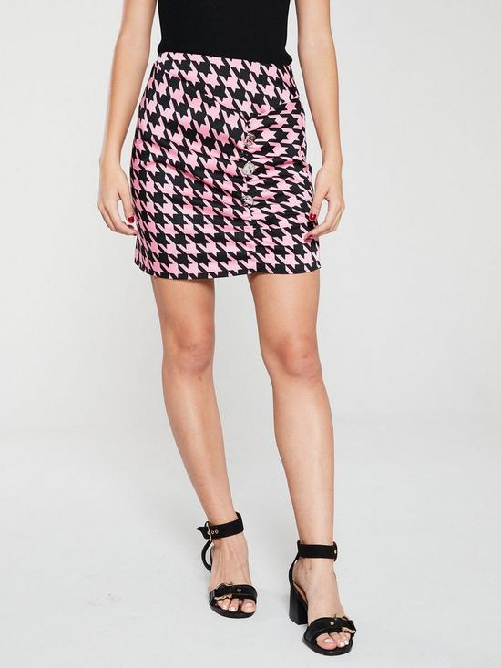 be0a5b0901 River Island Houndstooth Mini Skirt- Pink