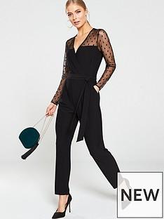 wallis-spot-mesh-jumpsuit-black