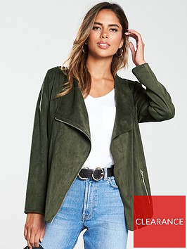wallis-fauxnbspsuede-waterfall-jacket-khaki
