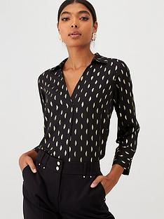 wallis-metallic-feather-shirt-black