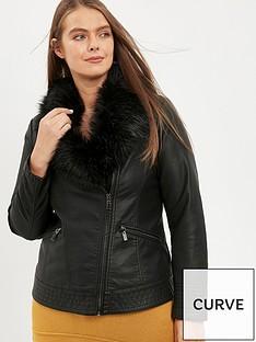 evans-faux-fur-pu-biker-jacket-black