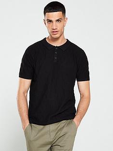 jack-jones-grid-knitted-polo-shirt-black