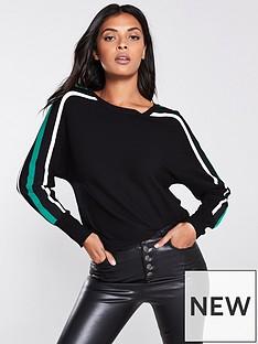 wallis-stripe-arm-batwing-jumper-black