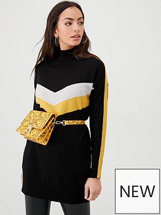 wallis-chevron-stripe-sleeve-tunic-black