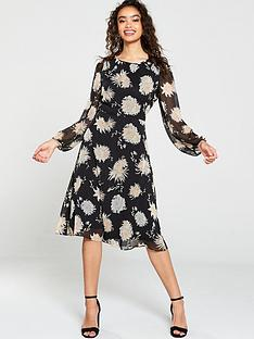 wallis-black-oriental-floral-midi-dress