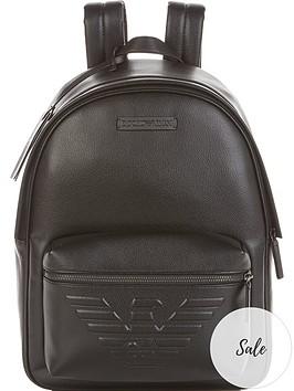emporio-armani-mens-eagle-logo-leather-backpack-black