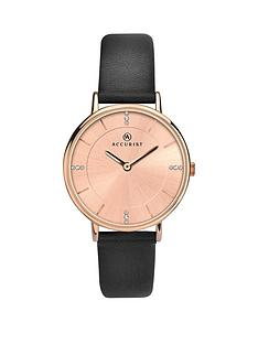 accurist-accurist-rose-gold-sunray-and-crystal-set-dial-black-leather-strap-ladies-watch
