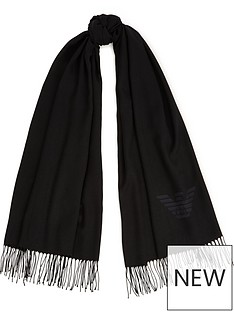 emporio-armani-knitted-logo-scarf-black