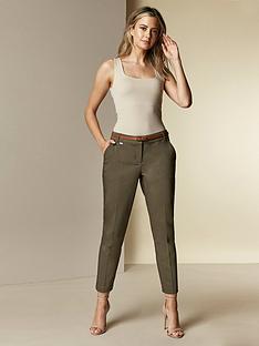 wallis-petite-double-faced-belted-cigarette-trousers-khaki