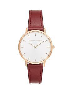 rebecca-minkoff-rebecca-minkoff-white-and-rose-gold-detail-dial-dark-red-leather-strap-ladies-watch
