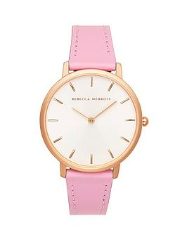 rebecca-minkoff-rebecca-minkoff-white-and-rose-gold-detail-dial-pink-leather-strap-ladies-watch