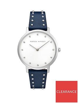 rebecca-minkoff-rebecca-minkoff-silver-dial-black-leather-studded-strap-ladies-watch
