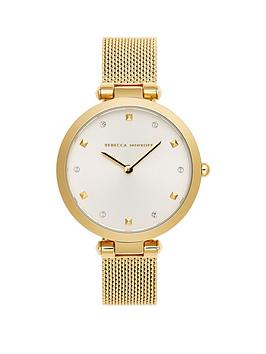 rebecca-minkoff-rebecca-minkoff-white-and-gold-detail-dial-gold-stainless-steel-mesh-strap-ladies-watch