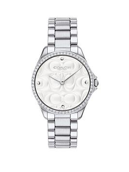 coach-coach-silver-textured-and-crystal-set-dial-stainless-steel-bracelet-ladies-watch