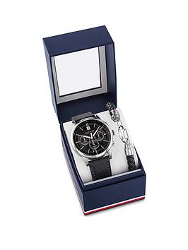 tommy-hilfiger-tommy-hilfiger-black-sunray-chronograph-dial-black-leather-strap-mens-watch-with-stainless-steel-and-leather-bracelet-gift-set
