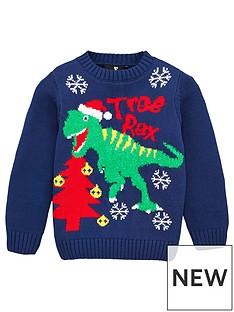 v-by-very-boys-tree-rex-dinosaur-christmas-jumper-navy