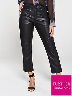 religion-girlfriend-fit-faux-leather-trouser-black
