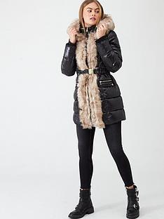 river-island-river-island-faux-fur-front-high-shine-padded-jacket-black