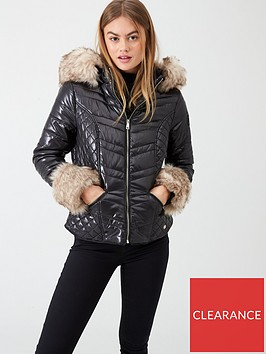 river-island-river-island-faux-fur-cuff-padded-jacket-black