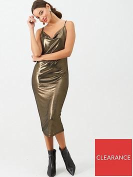 v-by-very-slinky-cowl-slip-dress-gold