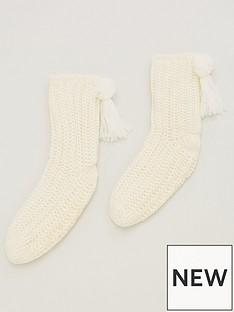 v-by-very-bollie-pom-slipper-sock-cream