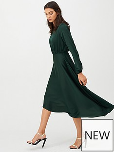 v-by-very-blouson-sleeve-satin-midi-dress-green