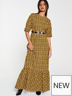 v-by-very-check-midaxi-dress-mustard-yellow