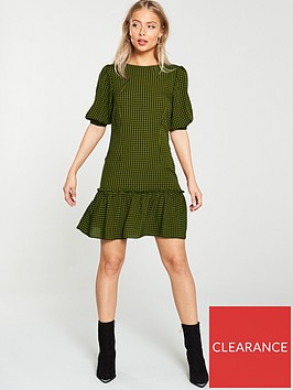 v-by-very-check-mini-dress-khaki