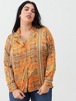 v-by-very-curve-scarf-print-blouse-orange