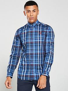 fred-perry-checked-shirt-midnight-blue