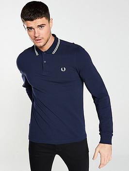 fred-perry-long-sleeved-twin-tipped-polo-shirt-navy