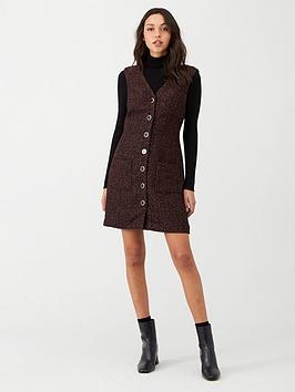 warehouse-tweed-button-through-pinny-dress-multi