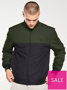 fred-perry-colour-block-sports-jacket-dark-sageblack
