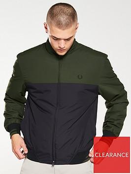 fred-perry-colour-block-sports-jacket-dark-sageblack