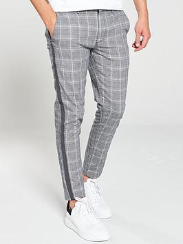river-island-grey-check-tape-skinny-trousers