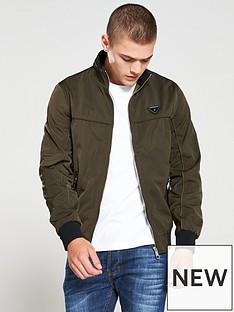 river-island-dark-green-zip-front-racer-jacket