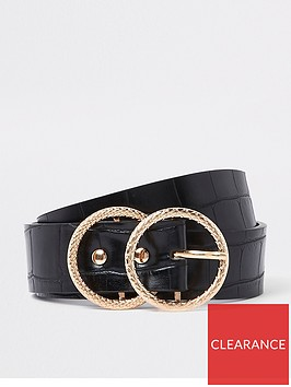 river-island-river-island-croc-textured-double-ring-belt-black