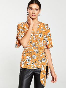 v-by-very-angel-sleeve-wrap-blouse-rust