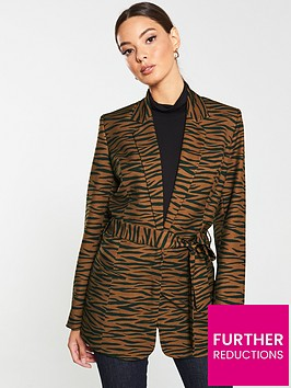 v-by-very-tiger-print-tie-front-jacket-rust