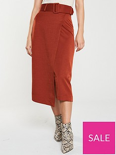 v-by-very-belted-wrap-midi-skirt-rust