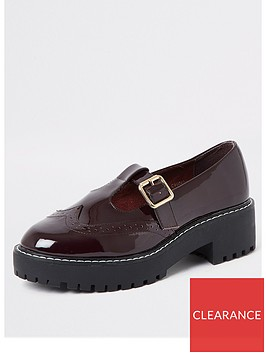 river-island-river-island-patent-chunky-brogue-dark-red