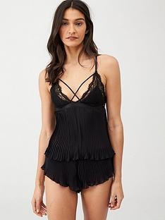 boux-avenue-pleated-chiffon-cami-set-black