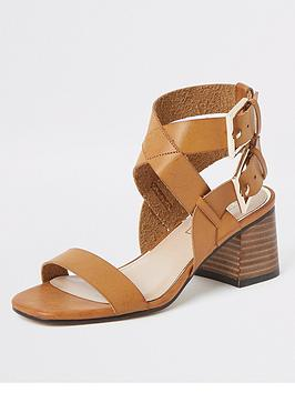 river-island-river-island-buckle-two-part-sandals-tan