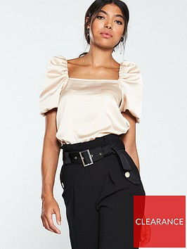 v-by-very-satin-square-neck-metallic-puff-sleeve-blouse-rose