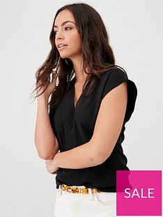 v-by-very-essentialnbspv-neck-sleevelessnbspshell-top-black