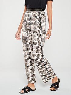 river-island-river-island-printed-wide-leg-trouser-brown