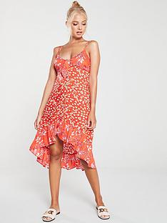 river-island-river-island-printed-frill-beach-dress-red