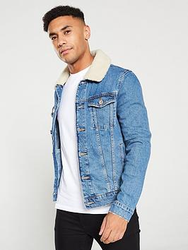 river-island-blue-fleece-borg-collar-trim-denim-jacket