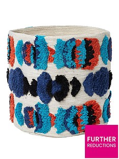 river-island-small-cream-and-blue-tufted-soft-basket