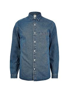 river-island-big-and-tall-mid-blue-denim-shirt
